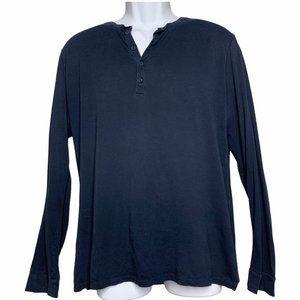 Vince Navy Blue Prima Cotton Henley V-Neck XL10673